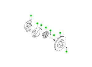Передний тормозной диск и ступица